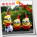 2014 Hot Selling Christmas Gift  Despicalbe Me 2 Minion 3D eyes Plush Cute Toys 1 Lot 3 Pieces Jorge Stewart Dave
