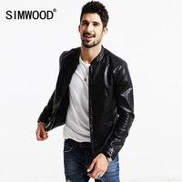 SIMWOOD 2018ฤดูใบไม้ผลิใหม่แจ็คเก็ตหนังPUผู้ชายบางพอดีแฟชั่นเสื้อคอจีนบางพอดีP61751