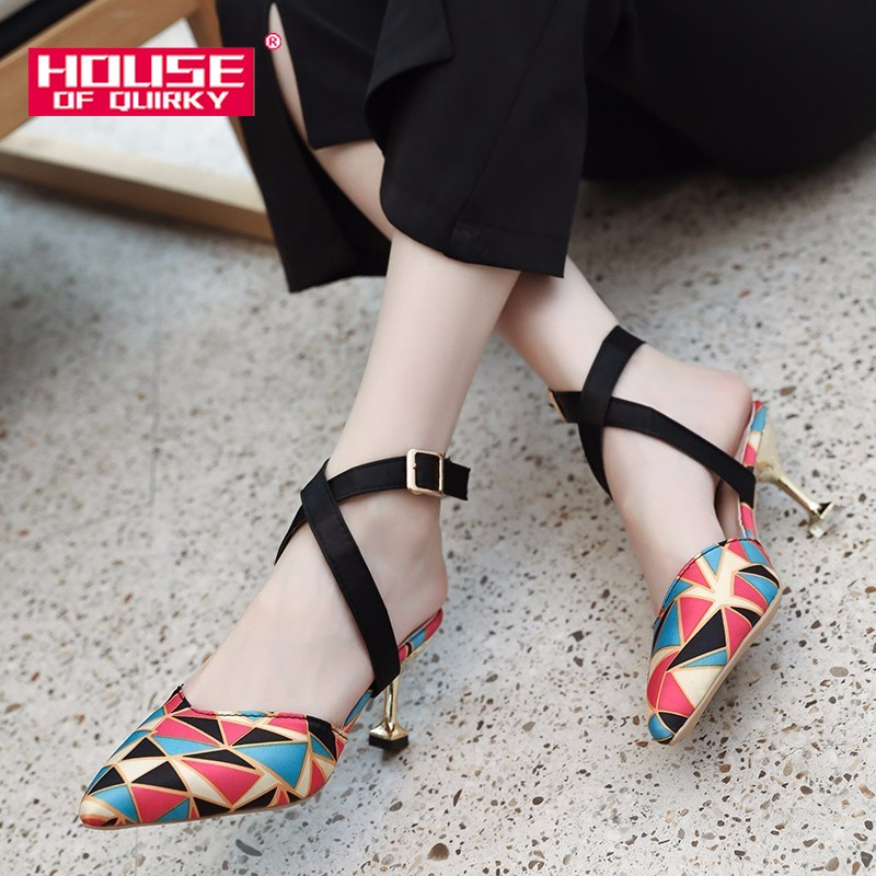 Summer Pointed Women Pumps New Hollow Out Buckle High <font><b>Heel</b></font> Sandals Woman Stiletto Rome Sandalen Ladies Casual Shoes Size 34-39 image