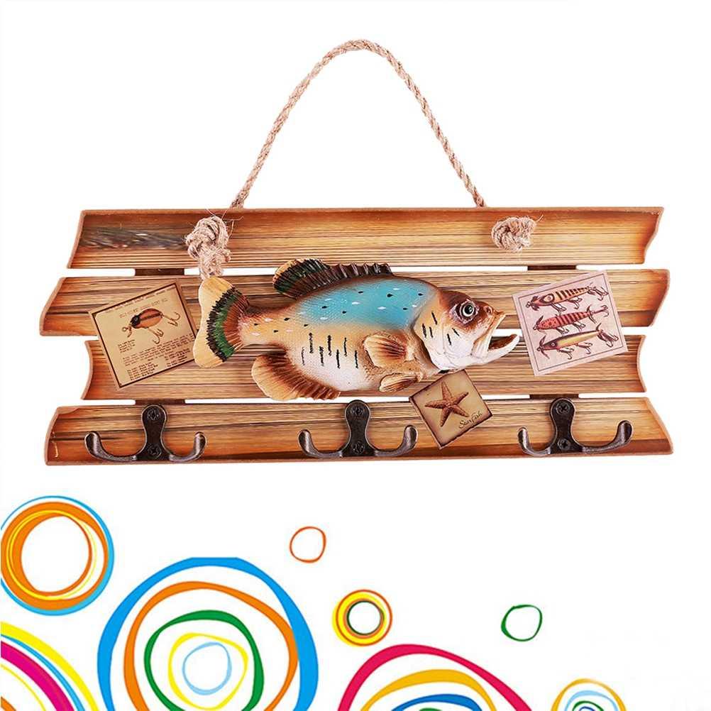 سبورة للباب السنانير الأسماك قذيفة نجمة أسماك شنقا الزخرفية الإبداعية خشبية سبورة للباب تسجيل السنانير لشريط متجر المنزل الباب