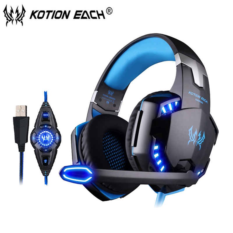 KOTION EACH G2200 Gaming Headset gamer USB 7.1 Surround Stereo Headphone with Vibration Microphone Earphone LED for computer kotion each g7000 gaming headset 7 1 usb wired headphone w mic surround vibration led light headband earphones for pc gamer
