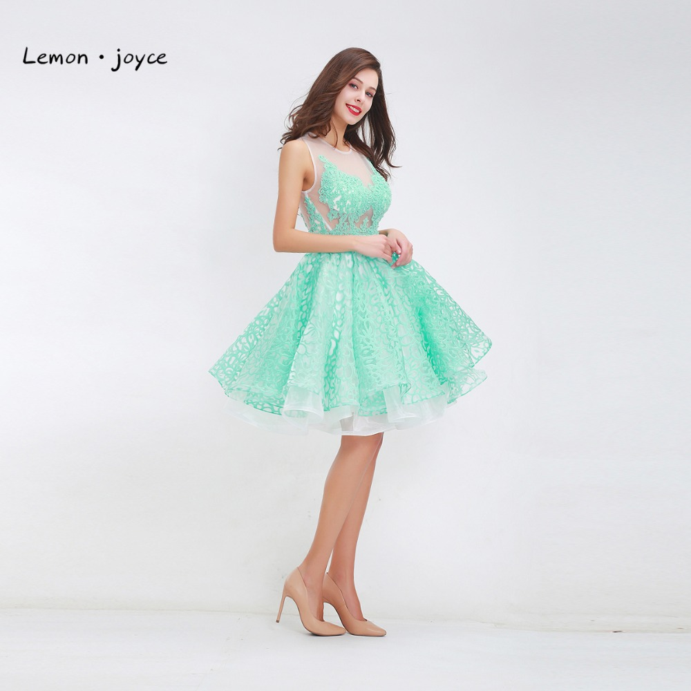Green Two Piece Prom Dresses 2018 Halter Sleeveless Backless Mini ...