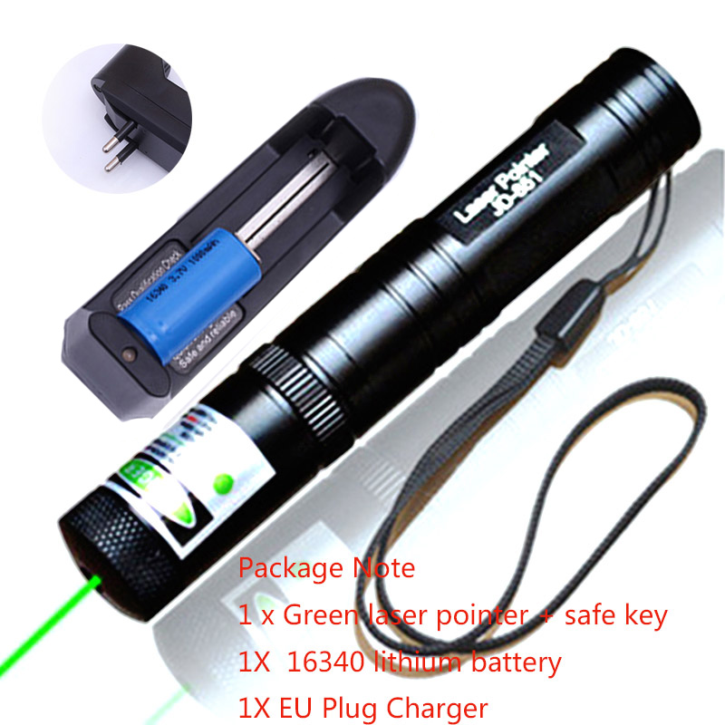 Jakt Green Laser Sight Rifle Scope Riflescope 532nm Lazer Kraftfull 851 Lasers Pekare 16340 Batterier + Laddare