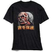 цены на Attack On Titan T-shirt Cool Men 3D T Shirt High Street Japan Anime Print Tshirt 100% Cotton Black Tops Tees Custom Company в интернет-магазинах
