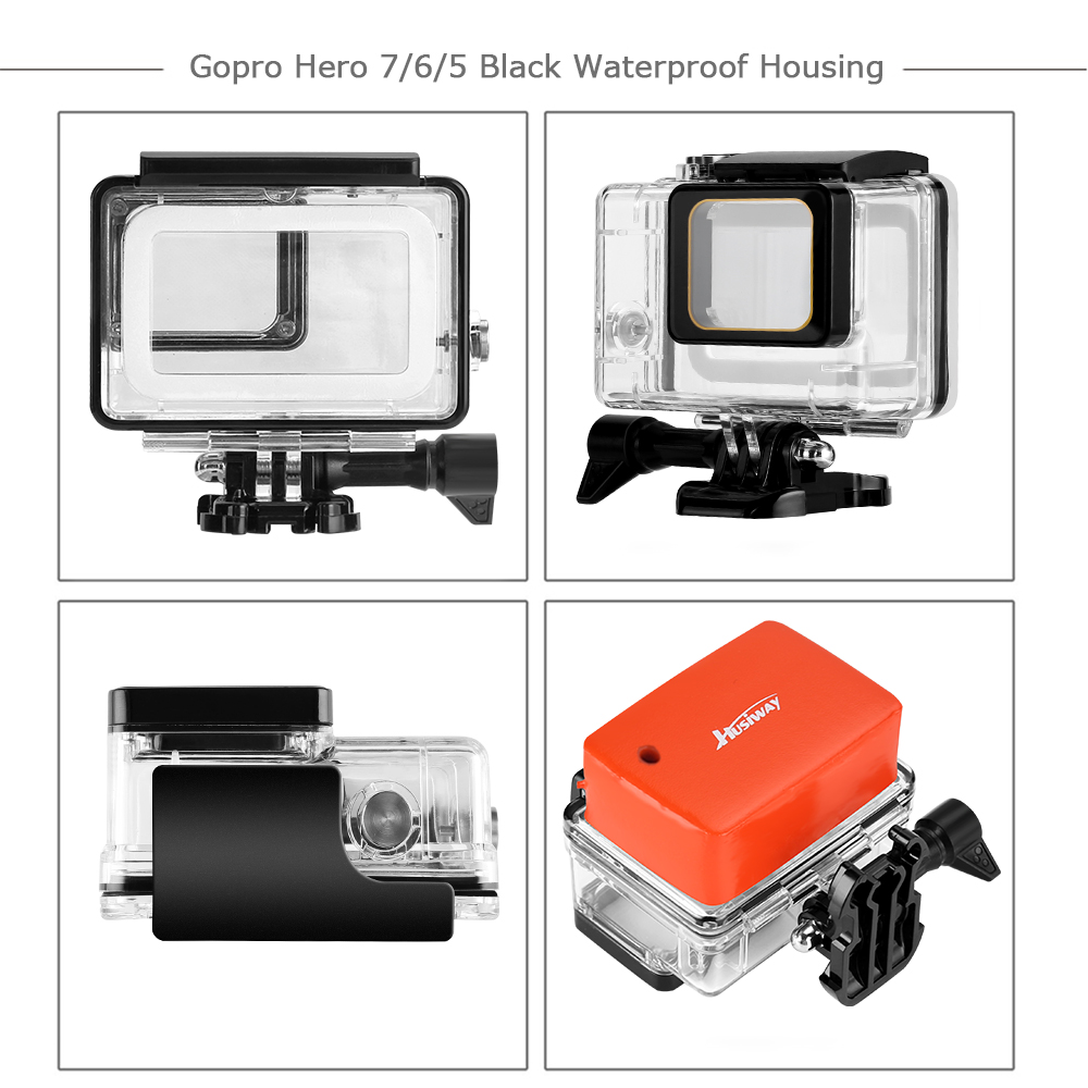 Image 2 - Husiway Accessories Set for Gopro hero 7 6 5 Black Waterproof Housing Silicone Case Screen Lens Protector 57A-in Sports Camcorder Cases from Consumer Electronics