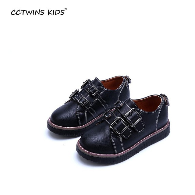 CCTWINS KIDS 2017 spring autumn black toddler pu leather for baby girl fashion brand white student sport shoe children flat