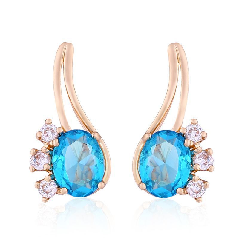 a7b9157a4668a Fashion Party Wedding Dangle Earrings Light Blue Crystal Rose Gold Color  Long Earrings Woman Statement Jewelry-in Drop Earrings from Jewelry & ...