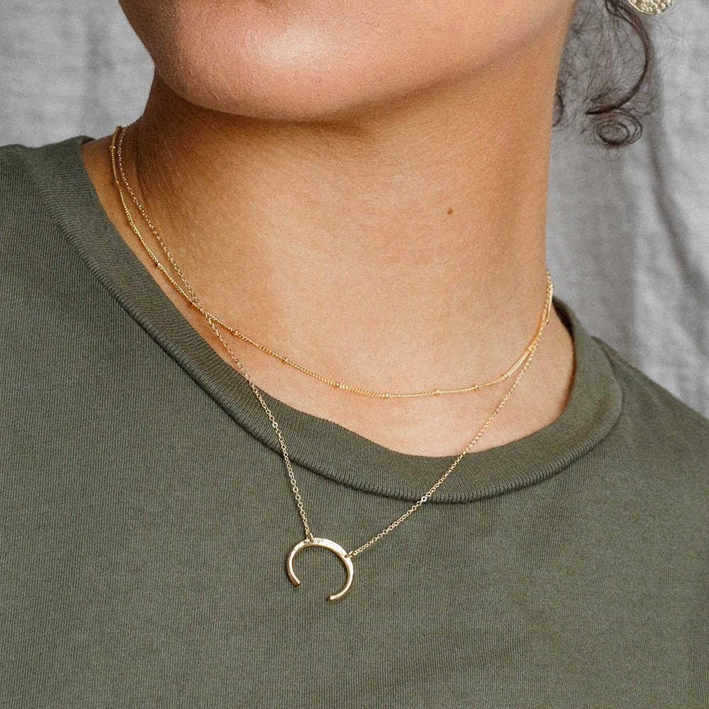 E-manco punk aço inoxidável colar feminino chifre pingente gargantilha neklace para mulher colar de afirmação jóias minimalista