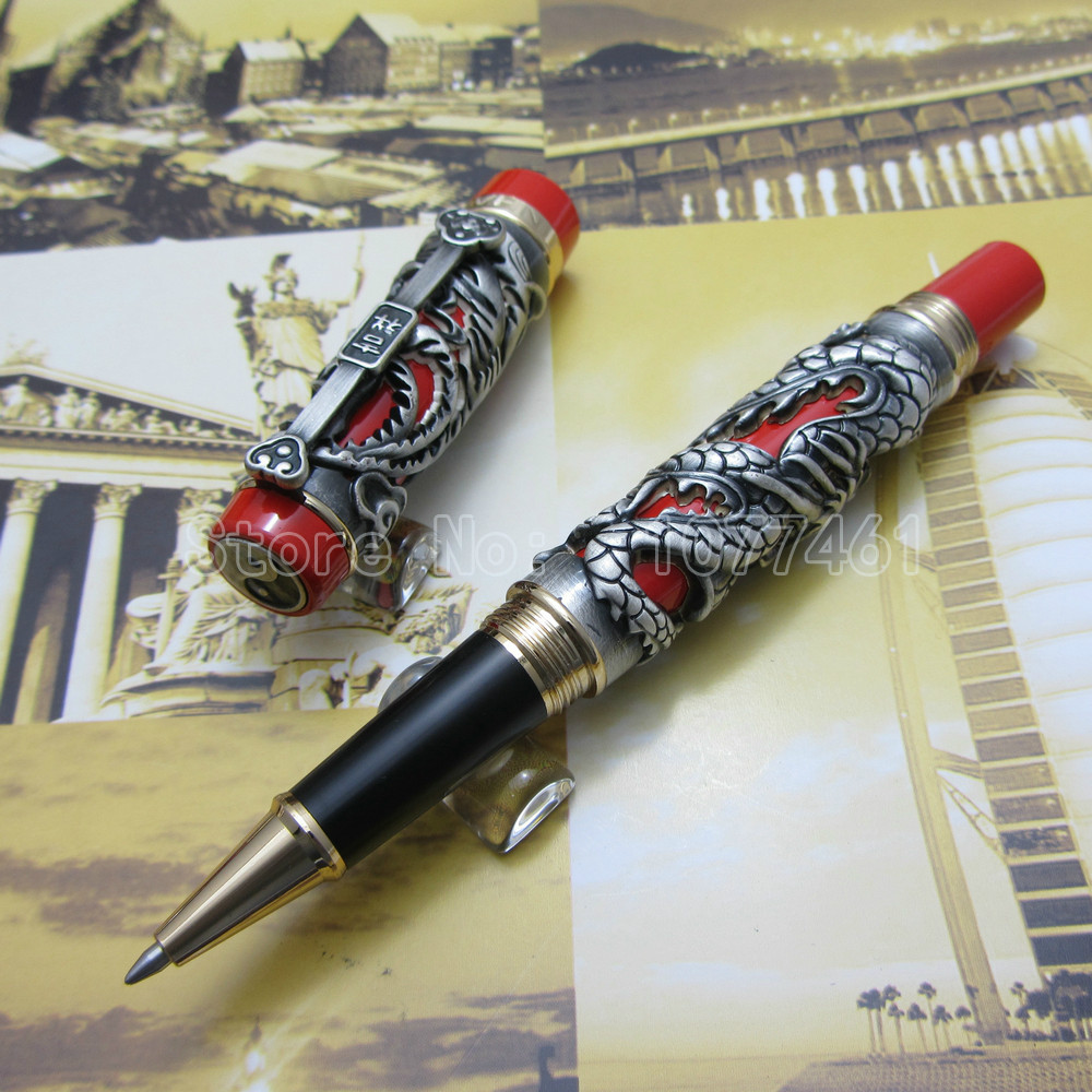 JINHAO High quality Carving Dragon and Phoenix Lucky Clip rollerball Pen Silver Red White Red Silver Black Optional JH1022 roller ball pen jinhao 189 noblest ancient silver medium 0 7mm nib great wall pen