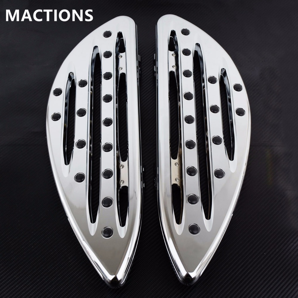 Motorcycle Front foot boards BLACK CNC Cut Driver Stretched Floorboards for Harley FLH FLST FLD Parts