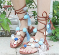 Free Shipping leather pom pom strap sandals lace up gladiator flats thong sandals flip flops multi color stones boho shoes US11