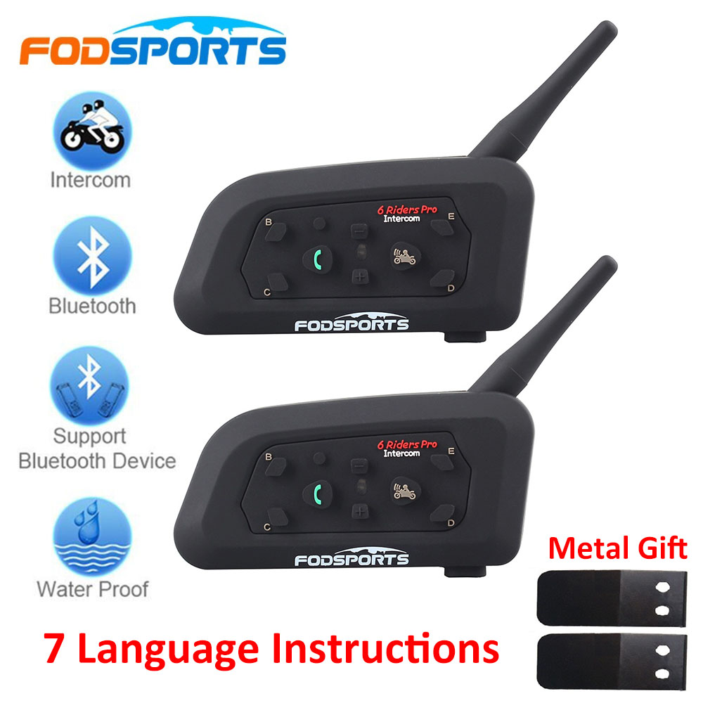 2018 Fodsports 2 piezas V6 Pro casco de la motocicleta auriculares Bluetooth Intercom 6 corredores 1200 M Intercomunicador BT Interphone