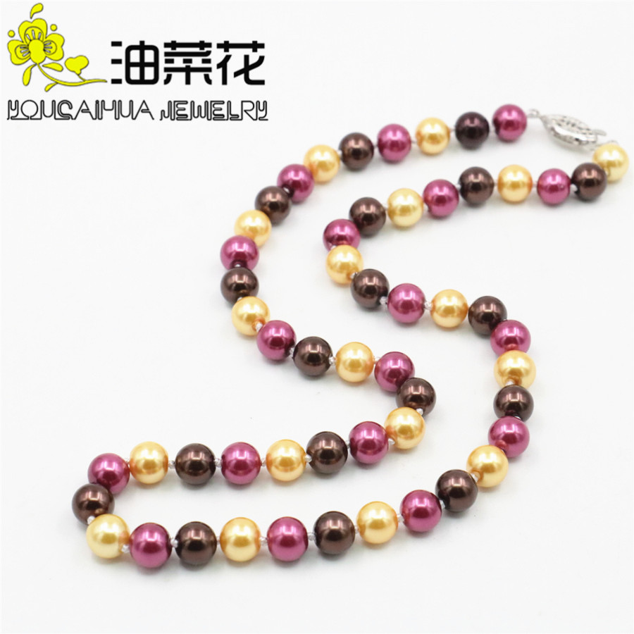 New Fashion 8mm South Sea Multicolor Shell Pearl Necklace Pearl Beads Fashion Jewelry Rope Chain Necklace Natural Stone 18inch
