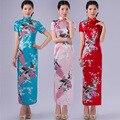 Ventas calientes 6 Color Tradicional Qipao Largo Vestido para Las Mujeres Del Partido de Manga Larga Chongsam Chino Ropa para Las Mujeres