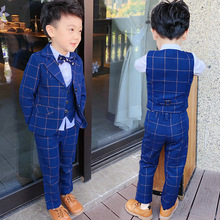 new products suit han edition three-piece dress kids winter clothes  Plaid boys clothing ALI 341