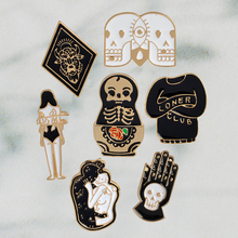 7pcs/set Halloween Party Hard enamel pins Goth punk skull brooch lapel pin Halloween pin button badge Jewelry for him Cool gifts pink skeleton enamel pin punk cool skull brooch lapel pin simple icons pins button badge cartoon fashion jewelry gift
