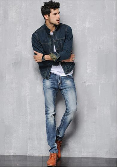 2016 Occident Fashion Vintage style High Quality Men s Jeans Mid Waist Full Length Pure Color