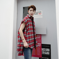 Autumn New High Street Long Sleeve Grid Shirt Men Fashion Hip Hop Loose Cotton Shirt Oversize