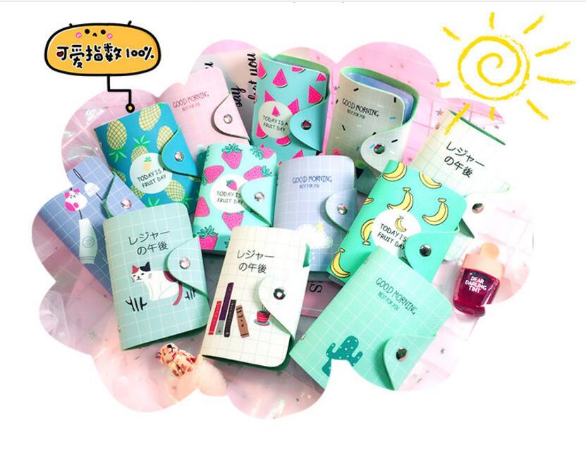 Cute Fresh Student Clutch Girls Wallet Long Purse Cartoon Cactus OWL Fruit Print Zipper Wallet for Women PU Leather Card Holder