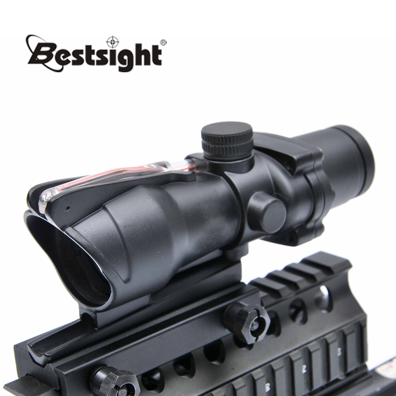 Trijicon ACOG 4X32 Red Dot Sight Optical Rifle Scope Real Fiber Optics Red Illuminated Crosshair Hunting Scopes trijicon acog 4x32 red dot sight scope tactical hunting scopes real green red fiber riflescope optics for rifles