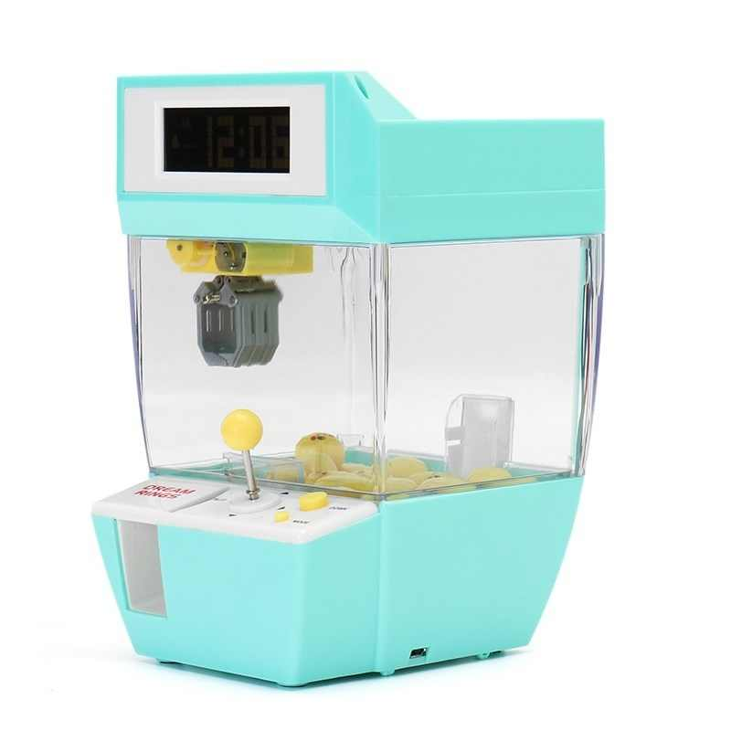 Catcher Alarm Clock Coin Operated Game Machine Crane Machine Candy Doll Grabber Claw Machine Blue Color For Entertainment