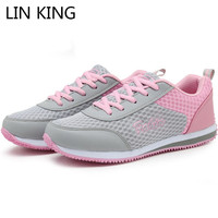 LIN KING Sping Autumn Women Casual Shoes Breathable Mixcolor Lace Up Girls Sneakers Anti Skid Lady
