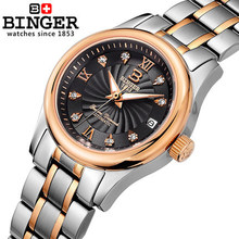 Бингер Новый женская мода платье в списке роскошные CZ алмазов часы дамы Спортивные часы высокого качества Стальной ленты часы relojes