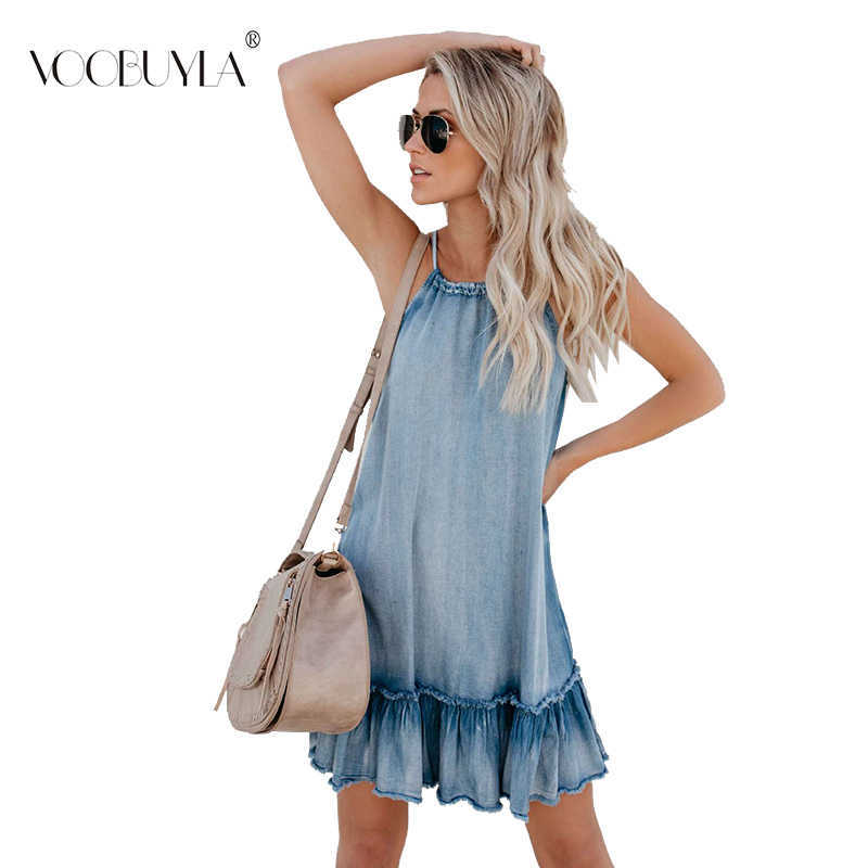 Voobuyla 2019 Весна Лето Женское платье джинсовые джинсы с лямкой на шее бандажные элегантные оборки платья женские трапециевидные сарафаны джинсовые Vestidos