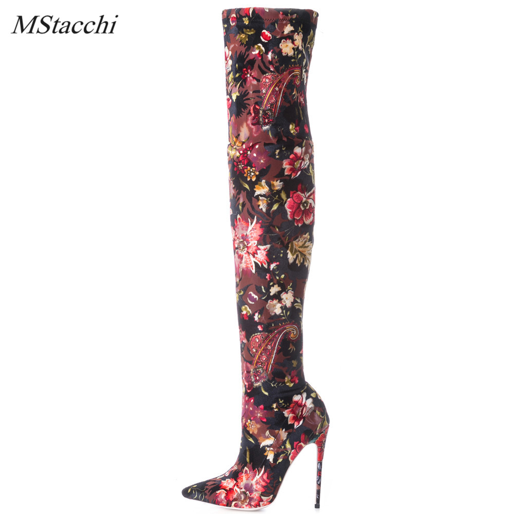 Mstacchi Luxury Brand Socks Boots Women Over The Knee Boots Autumn Winter Shoes Long Thigh High Boots Elastic Slim Size 33-43 2018 hot women over the knee high boots autumn winter knitted shoes long thigh high boots elastic slim fit socks boots
