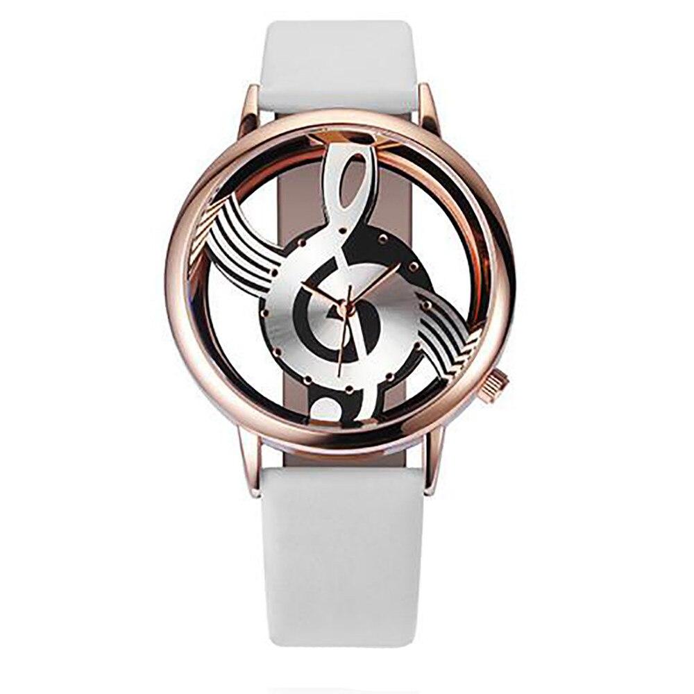 New Vansvar Brand Fashion Hollow Music Note Notation Watch Stainless Steel Quartz Wristwatch For Men Women Silver Mesh Watch A3