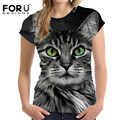 FORUDESIGNS Black 3D Cat Animal Women Casual T Shirt Brand Clothing Women Short Sleeved Breathable Tshirt Female Fitness Tops