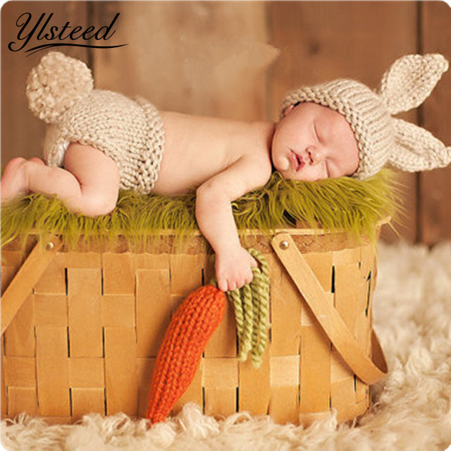 Crochet baby costume set knit rabbit hat newborn photography props carrot hat pants 3