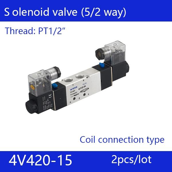Free shipping 2pcs good qualty 5 port 2 position Solenoid Valve 4V420-15,have DC24v,DC12V,AC24V,AC36V,AC110V,AC220V,AC380V 3924450 2001es 12 fuel shutdown solenoid valve for cummins hitachi