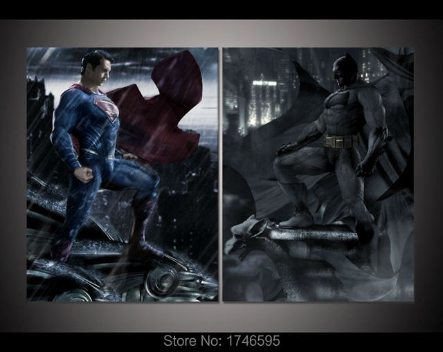 Print Batman V Superman Dawn Of Justice Movie Poster Painting On Canvas Art For Kids