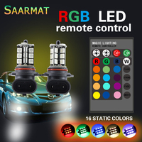 2pcs RGB 9006 27 SMD LED Headlight Fog Light Head Lamp Bulb With Remote Control Car