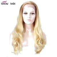 Ishow блонд Кружева Фронтальные человеческие волосы парики естественная волна бразильские волосы Remy парики 150% плотность цвет 613 парики с длин