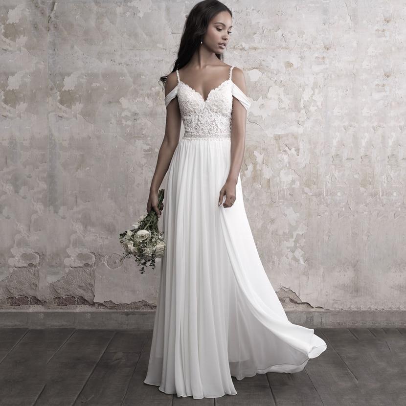 Chiffon A Line Wedding Dresses 2019 Sexy V Neck Backless Boho Wedding Dress Appliques Lace Top Bridal Dresses Vestidos De Novia