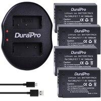 DuraPro 4Pcs 7 4V 1040mAh LP E17 LPE17 LP E17 Battery USB Dual Charger For Canon