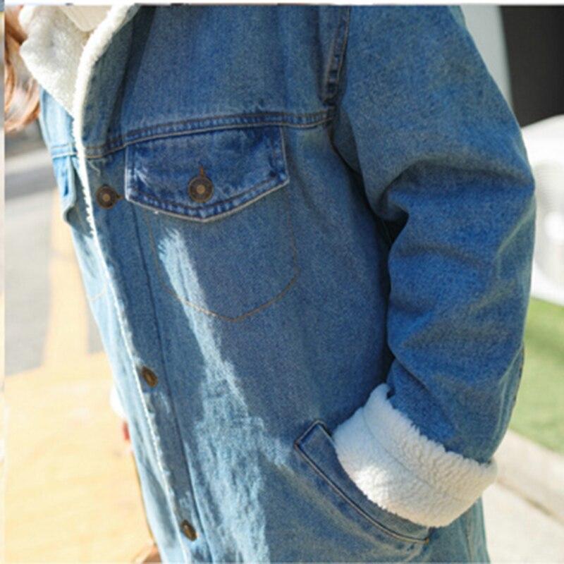 Fille Parkas Manteau Jeans Laine Qazxsw Denim Preppy Hb108 Veste Hiver Outwear Coton Bleu Rembourré Long D'hiver Vintage Doublure 8x0wYYqZnH