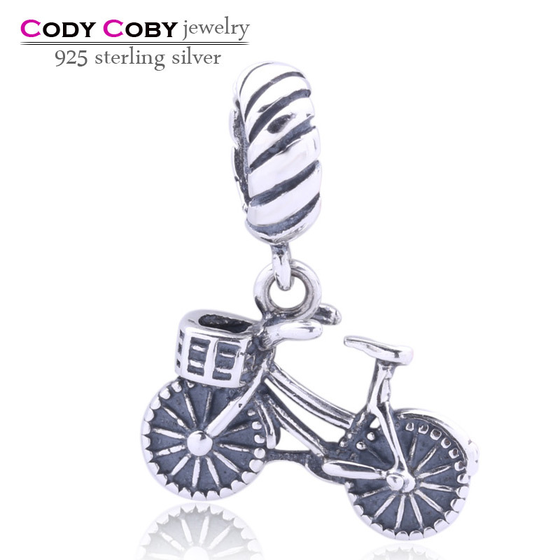 Thai fashion 925 sterling silver bicycle pendants charms beads fit original Pandora bracelets & necklace for women DIY jewelry
