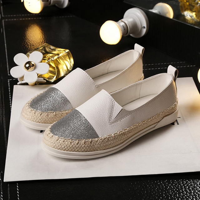 2016 Plus Size Autumn Women Loafer Flats Shoes Genuine Leather Straw Rope Lazy Fishermen Women Platform Single Casual Shoes ZK35