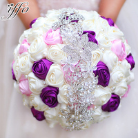 Bride Holding Flowers New Arrival Romantic Wedding Colorful Rose Bride S Bouquet Purple Pink And Ivory