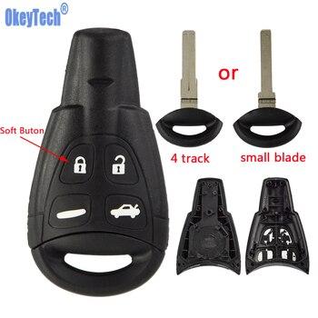 OkeyTech Fernbedienung Auto Schlüssel Fall Shell Für Saab 9-3 93 2003-2007 4 Taste Uncut Klinge Smart Karte Leere Ersatz Keyless Fob Abdeckung