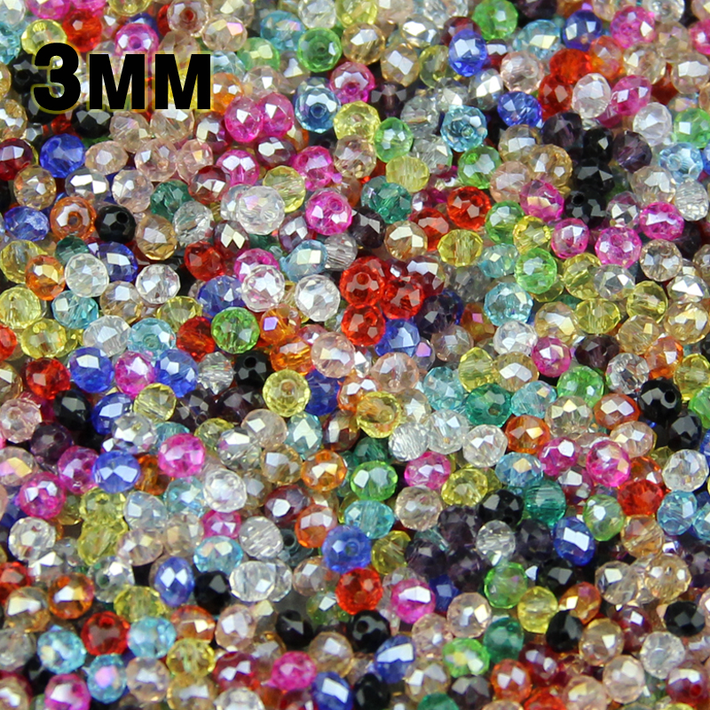 JHNBY Round Shape Upscale Austrian crystals beads High quality 3mm 200pcs loose rondelles glass ball bracelet Jewelry Making DIY()
