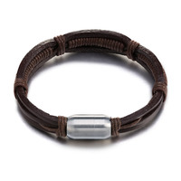 Fashion Jewelry Bracelets Bangles Leather Simple Domineering Hand Woven Leather Men S Bracelet Stainless Steel Magnetic