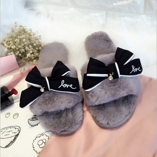 af1cf0e67a1a fashion bowtie winter slippers with feathers women luxury design fur slides  girls pink fur flip flops warm plush flower sandals-in Slippers from Shoes  on ...