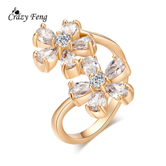 High Quality Wedding Ring Fashion Women Gold Color Four Clover Jewelry Ziccon Crystal Flower Size