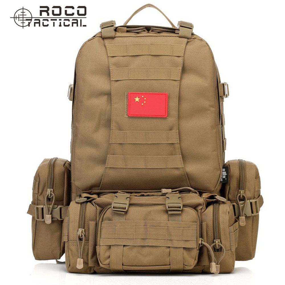 ФОТО ROCOTACTICAL 60L Nylon Military Combination Backpack Army Military Backpack with Increament Accessory Bags Hiking Backpack