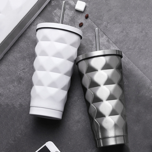 Image 1 - ステンレス鋼絶縁カップ真空フラスコ魔法瓶 500 ミリリットル絶縁魔法瓶コーヒーマグ旅行わら