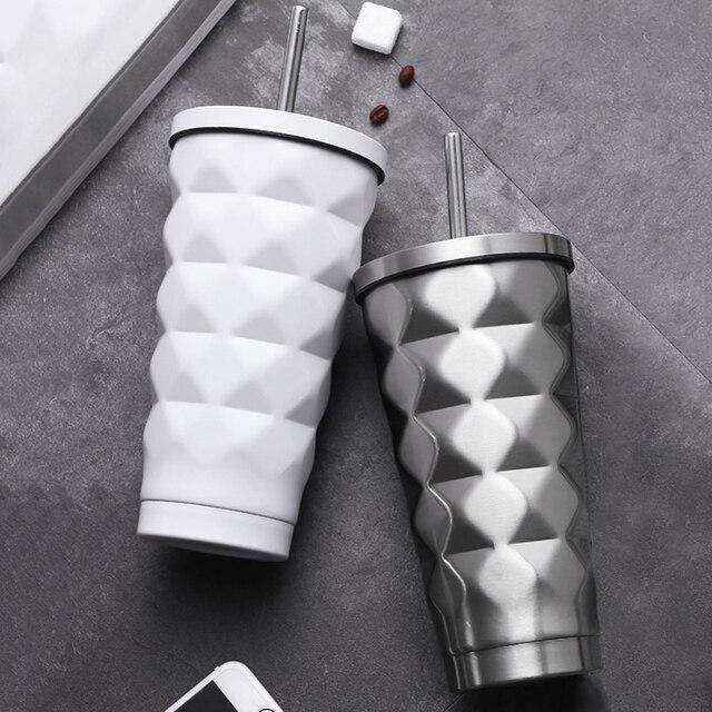 ステンレス鋼絶縁カップ真空フラスコ魔法瓶 500 ミリリットル絶縁魔法瓶コーヒーマグ旅行わら